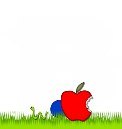 eaten: Period, in the alphabet set Apple a Day Eaten Away, is blue.  Letter is sitting on green grass.  A green worm crawls around letter.
