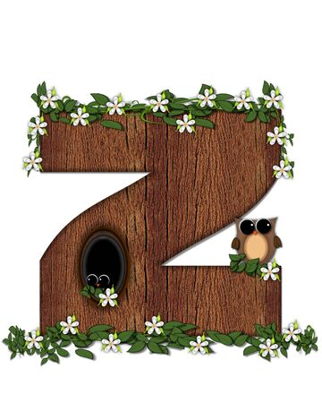 The letter Z, in the alphabet set Log Home is filled with wod texture.  Flower bloom on vines hanging on letter.  One owl hides in knothole and the other outside the stump home.