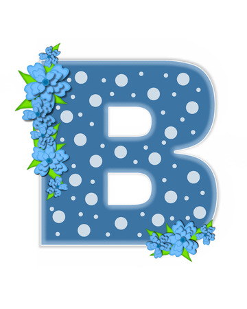 The letter B, in the alphabet set Dusty Blue Dots, is Blue.  Letter is decorated with blue flowers and is covered in large and small polka dots.