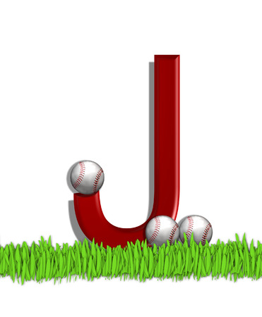 The letter J, in the alphabet set Baseball, is red.  Three baseballs decorate 3D letter.  All sit in a field of green grass. Stock Photo