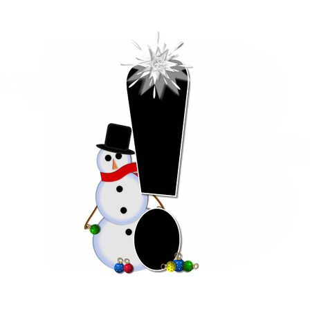 Exclamation point, in the alphabet set Frosty, is black and decorated with a snowman and Christmas ornaments.  Snowman is wearing a red scarf and alphabet letter is topped with a glowing white star.
