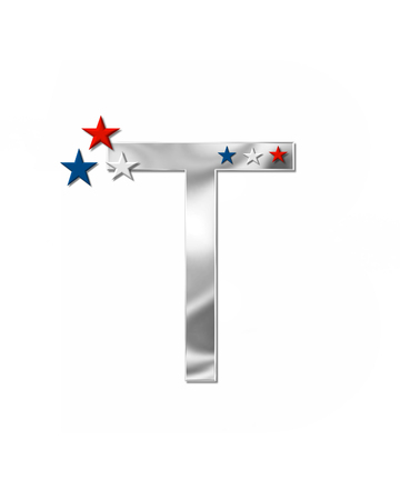 armed services: The letter T, in the alphabet set Plain Patriotism is silver metalic.  Three stars decorate letter with red, white and blue.  Letters coordinate with Alphabet Patriotism.