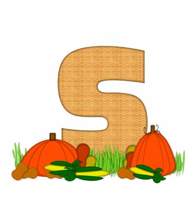 bounty: The letter S, in the alphabet set Blessed Bounty, is filled with wicker texture.  Letter sits in grassy field surrounded by Fall vegetables. Foto de archivo
