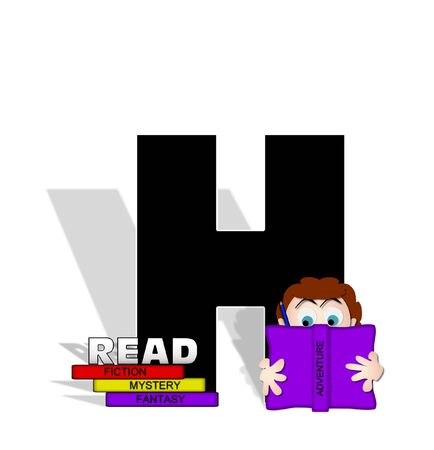 The letter H, in the alphabet set Absorbed in Reading, is black and decorated with books and people absorbed in reading.  Stark shadow hangs behind letter.  Books have genre printed on spine binding.