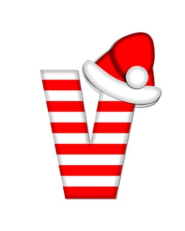 The letter V, in the alphabet set Christmas Candy Cane, is red and white striped.  Letter is decorated with floppy Santa cap.