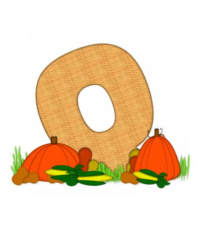 grassy field: The letter Q, in the alphabet set Blessed Bounty, is filled with wicker texture.  Letter sits in grassy field surrounded by Fall vegetables.