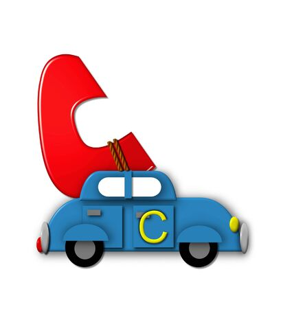 The letter C, in the alphabet set Alphabet On the Go is tied with rope to transportation vehicles in different colors, shapes and sizes.  Letter is 3D, red and ready to GO! Stock Photo