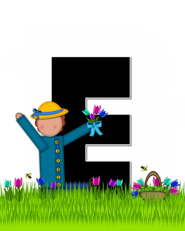 The letter E, in the alphabet set Children Tulip Patch is black outlined with white.  Children hold tulip bouquet and stand in colorful tulip patch.