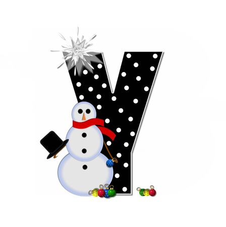 typographiy: The letter Y, in the alphabet set Frosty, is black and decorated with a snowman and Christmas ornaments.  Snowman is wearing a red scarf and alphabet letter is topped with a glowing white star.