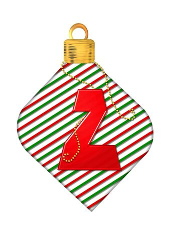 The letter Z, in the alphabet set Pinstripe Ornament, is red.  Letter sits on red and green striped Christmas ornament.