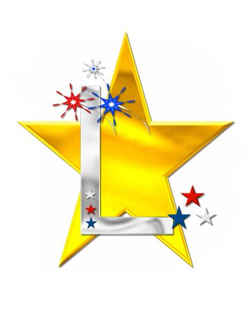 The letter L, in the alphabet set Patriotism is silver metalic.  Fireworks and stars decorate letter with red, white and blue.  Golden star serves as background. Stock Photo