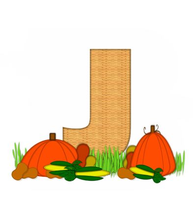 bounty: The letter J, in the alphabet set Blessed Bounty, is filled with wicker texture.  Letter sits in grassy field surrounded by Fall vegetables. Foto de archivo