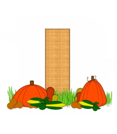"""bounty: La letra I, en el conjunto de alfabeto de """"Beato Bounty"""", se rellena con la textura de mimbre. Carta sienta en el campo de hierba rodeado de verduras de otoño."""