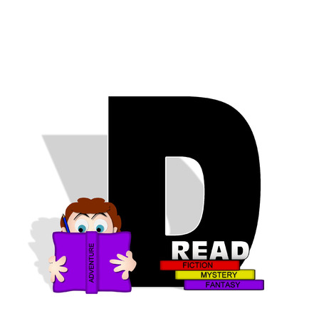 open type font: The letter D, in the alphabet set Absorbed in Reading, is black and decorated with books and people absorbed in reading.  Stark shadow hangs behind letter.  Books have genre printed on spine binding. Stock Photo