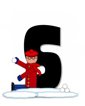 snow cap: The letter S, in the alphabet set Children Snow Fight, is black and outlined with white.  Children, dressed in cap, scarf and mittens, hold snowball ready for a fight.