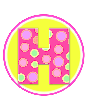 The letter H, in the alphabet set Circle Party is decorated with polka dots in pink, green and orange.  Letter sits on a two color circle of yellow and pink.