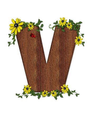 alphabet tree: The letter V, in the alphabet set Ladybug and Sunflower is filled with wood texture.  Ladybug, sunflowers and vines decorate letter. Stock Photo