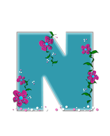 The letter N, in the alphabet set Fairy Tale Garden, is aqua and decorated with 3D flowers, vines and confetti.