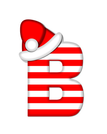 letter from santa: The letter B, in the alphabet set Christmas Candy Cane, is red and white striped.  Letter is decorated with floppy Santa cap.