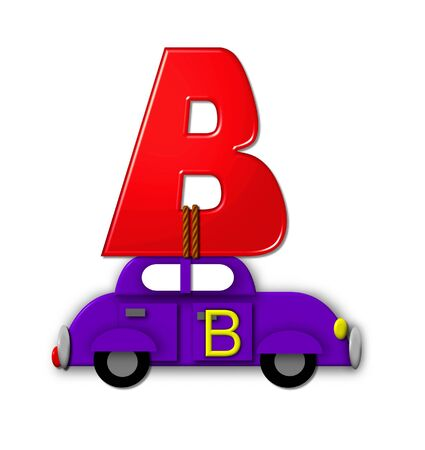 The letter B, in the alphabet set Alphabet On the Go is tied with rope to transportation vehicles in different colors, shapes and sizes.  Letter is 3D, red and ready to GO!