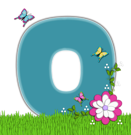 flutter: The letter O, in the alphabet set Happy Springtime, is turquoise.  Letter is sitting on bright green grass and is decorated with flower and vines.  Butterflies flutter around letter.