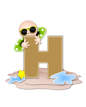 The letter H, in the alphabet set Ocean Swimming is tan.  Letter sits on beach and is decorated with swimmer, water, bubbles and yellow starfish.