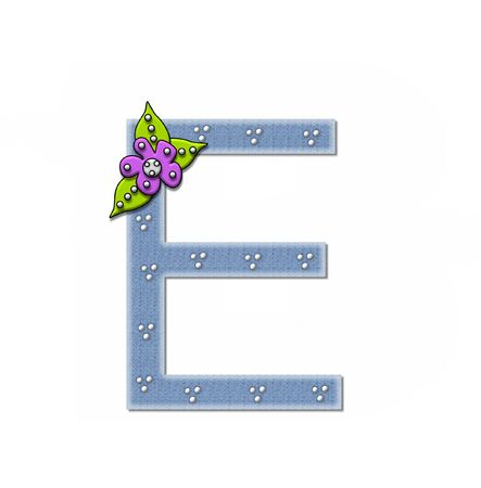 e white: The letter E, in the alphabet set Denim and Flowers is filled with denim fabric.  Edges are soft white and letter is decorated with dots and a large flower.