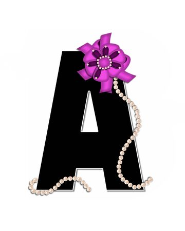 The letter A, in the alphabet set Ribbon Trimmed, is black, outlined with white.  Letter is decorated with colorful bow trimmed with pearls.  Strands of pearls fall from bow and lay at bottom of letter.