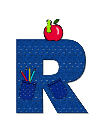 tilted: The letter R, in the alphabet set School Days, in dressed in denim material with tilted pocket filled with pencils or crayons.  An apple with a worm sometimes decorates base of letters.