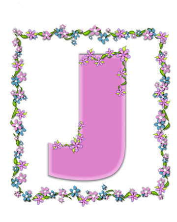 daisy pink: The letter J, in the alphabet set Daisy Fair Pink is a soft pastel shade of lilac.  Garland of ivy and flowers covers outline of letter and smaller chain of flowers drape letter. Stock Photo