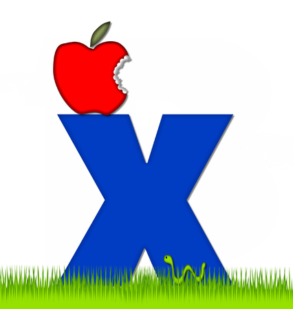 The letter X, in the alphabet set Apple a Day Eaten Away, is blue.  Letter is sitting on green grass.  A green worm crawls around letter.