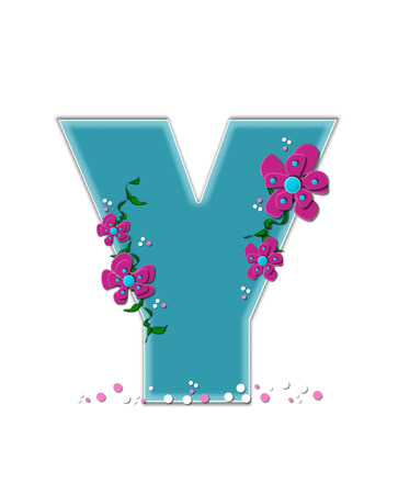 ivy vine: The letter Y, in the alphabet set Fairy Tale Garden, is aqua and decorated with 3D flowers, vines and confetti.