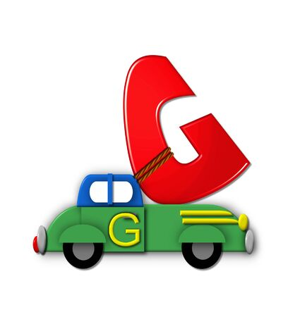 hauling: The letter G, in the alphabet set Alphabet On the Go is tied with rope to transportation vehicles in different colors, shapes and sizes.  Letter is 3D, red and ready to GO! Stock Photo