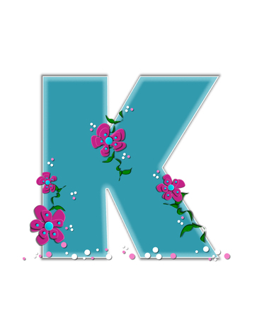 The letter K, in the alphabet set Fairy Tale Garden, is aqua and decorated with 3D flowers, vines and confetti.