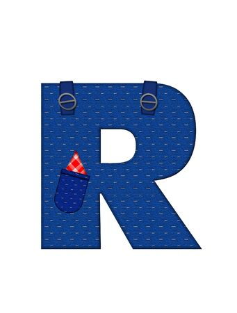 straps: The letter R, in the alphabet set Farmer Brown, is denim with straps and pockets.  Checkered handkerchief peeks out of pocket.