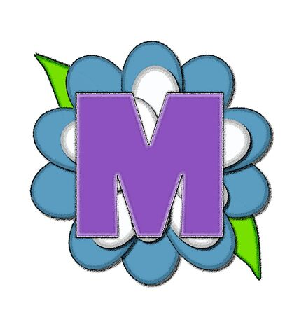 The letter M, in the alphabet set Flower Pin Blue, is purple with soft white outline.  Letter sits on large, blue and white flower.