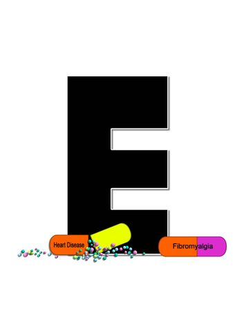 The letter E, in the alphabet set Wellness Check, is black and outlined with white.  RX capsules decorate letter with health diseases on each capsule.