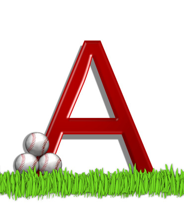 The letter A, in the alphabet set Baseball, is red.  Three baseballs decorate 3D letter.  All sit in a field of green grass.