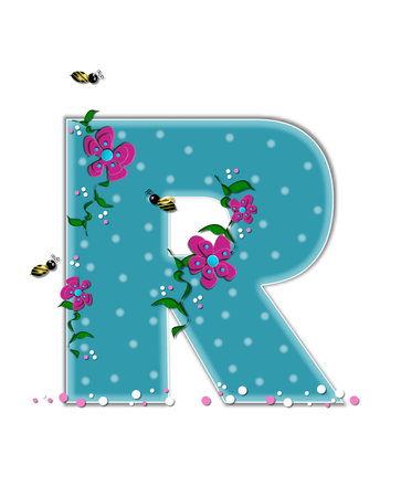 buzz: The letter R, in the alphabet set Garden Buzz, is aqua.  Each letter is decorated with soft polka dots, flowers and buzzing bees.  Base of letter is covered in pink and white confetti.