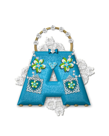 The letter A, in the alphabet set Bling Bag, depicts aqua letter as a blinged out purse with gold handle.  Letter has lace, diamonds and flowers.  Background framing letter is a lace handkerchief. Imagens