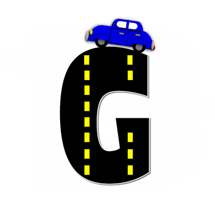 jalopy: The letter C, in the alphabet set Transportation by Road, is black with yellow dividing line representing a black top road.  Colorful, motorized vehicle navigates outside of letter.