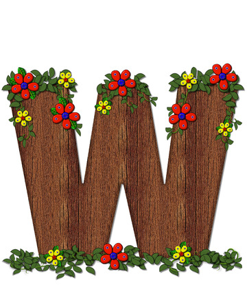 The letter W, in the alphabet set Woodsy Owl is filled with wood texture.  3D flowers hand on vines surrounding letter.