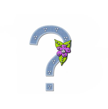punctuation mark: Question mark, in the alphabet set Denim and Flowers is filled with denim fabric.  Edges are soft white and letter is decorated with dots and a large flower.