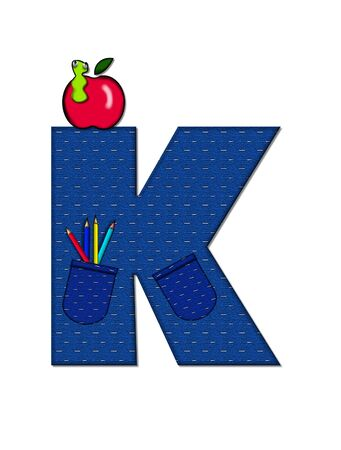 The letter K, in the alphabet set School Days, in dressed in denim material with tilted pocket filled with pencils or crayons.  An apple with a worm sometimes decorates base of letters. Stock Photo