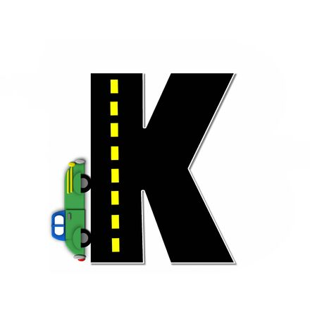 dividing line: The letter K, in the alphabet set Transportation by Road, is black with yellow dividing line representing a black top road.  Colorful, motorized vehicle navigates outside of letter.