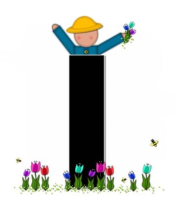 straw hat: The letter I, in the alphabet set Children Spring Tulips is black and trimmed with white.  Child holds bouquet of tulips and wears a straw hat.  Tulip garden grows at her feet.