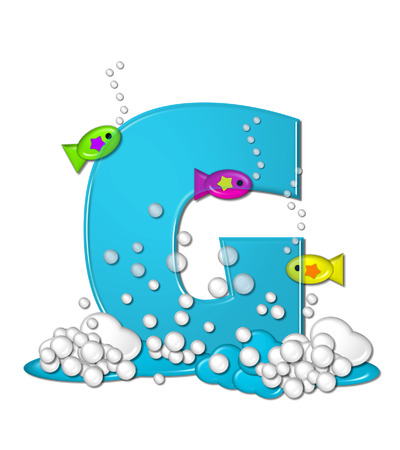The letter G, in the alphabet set Bubbly Fish, is bright aqua and has bubbles and wave action at bottom of letter.  Transparent layer allows colorfor fish to swim in and out of letter. Stock fotó