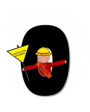 アルファベット セット「子供学校パトロール、」で、o は黒と白で輪郭を描かれました。 子に扮した帽子と運ぶ署名バナーを着てガードを渡るしま