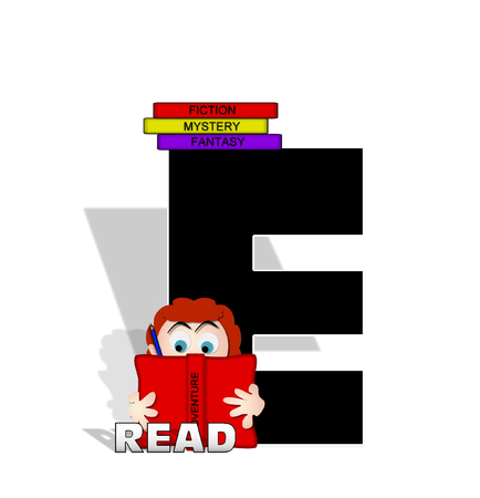 The letter E, in the alphabet set Absorbed in Reading, is black and decorated with books and people absorbed in reading.  Stark shadow hangs behind letter.  Books have genre printed on spine binding.