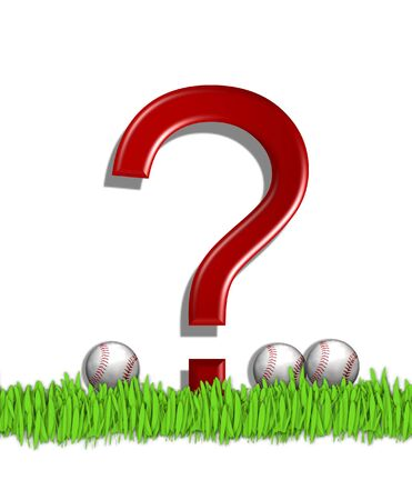 Question Mark, in the alphabet set Baseball, is red.  Three baseballs decorate 3D letter.  All sit in a field of green grass. Stock Photo